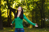 Woman enjoys in nature — Stock Photo