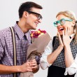 Happy nerdy couple — Stock Photo #72773849