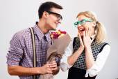 Happy nerdy couple — Stock Photo