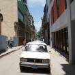 Typical old retro car on the street in Havana — Stok fotoğraf #55819943