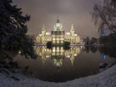 City Hall of Hannover, Germany at Winter by night — Stock Photo