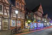 Typical street view in Celle at evening — Stock Photo