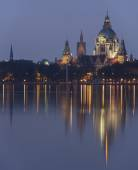 Maschsee in Hannover atevening — Stock Photo