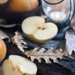 Asian pears, lantern and fall leaves — Stock Photo