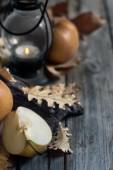 Asian pears, lantern and fall leaves background — Stock Photo
