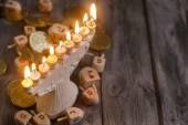 Jewish holiday hannukah symbols — Stock Photo