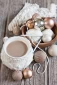 Christmas coffee and balls — Stock Photo