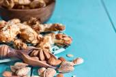 Crescent almond cookies background — Stock Photo