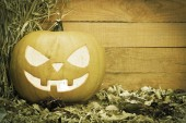 Halloween pumpkin with colours desaturated — Stock Photo