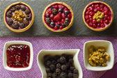 Autumn fruits cakes — Stock Photo