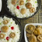 Saffron Milk Cap mushroom rice with white wine sauce — Stock Photo #74269649