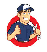 Mechanic with Circle Shape — Stock Vector