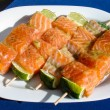Salmon skewer with lemon ready for BBQ — Stock Photo #57574863