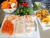 Salmon, fish fillet, scallops and scampi ready to prepare — Foto de Stock