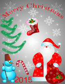 Santa Claus with bag and snowman — Stock Vector