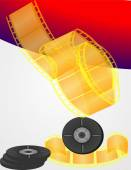 Yellow twisted film — Stock Vector