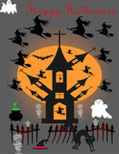 The house of witches ghosts and vampire — Stock Vector