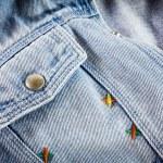Closeup detail of blue vintage denim jacket — Stock Photo #75698293