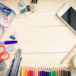 School and office supplies on wood background. Back to school. — Stock Photo #79426232