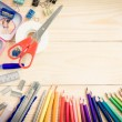 School and office supplies on wood background. Back to school. — Stock Photo #79426370