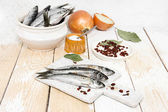 Fresh fish on the table — Stock Photo