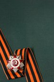 Order of the Patriotic War and St. George ribbon on green backgr — Stock Photo