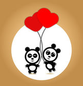 Panda lovers with red balloons — ストックベクタ