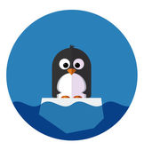 Illustration of Penguin on a ice floe — Stock Vector