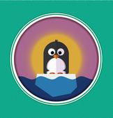Illustration of Penguin on a ice floe — Stock Vector