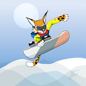 Vector illustration of sportive leopard on a snowboard — Stock Vector