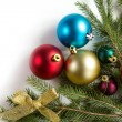 Spruce branches with Christmas decorations. — Stock Photo #57179283