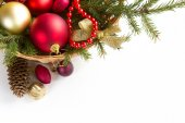Spruce branches with Christmas decorations. — Stock Photo