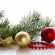 Spruce branches with Christmas decorations. — Stock Photo #59148537