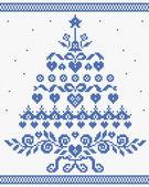 Christmas ornament blue tree vector seamless texture — Stock Vector