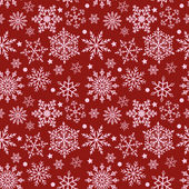 Snowflakes on red background seamless texture — Stock Vector