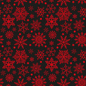 Snowflakes on black and red background seamless texture — Stockvektor