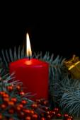 One red burning Christmas candles on the background of fir-tree  — Stok fotoğraf