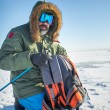 Winter explorer man with backpack — Stock Photo #51938109