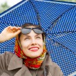Autumn happy woman with umbrella — Stock Photo #53119395