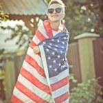 Woman with national usa flag — Stock Photo #53814653