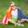 Beautiful young pretty woman with american flag — Stock Photo #53838203