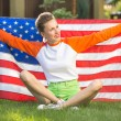 Woman with american flag — Stock Photo #53839091