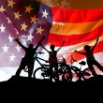 Biking american family at sunset sky background — Stock Photo #54336753