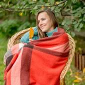 Autumn romantic woman in autumn garden — Stock Photo