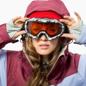 Kvinna med ski skyddsglasögon — Stockfoto