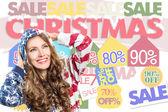 Beautiful christmas sales woman — Foto de Stock