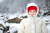 Adventure woman in winter mountain — Stock Photo
