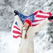 Winter patriot with flag — Stock Photo #60069771