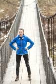 Winter running woman relaxing — Stock Photo
