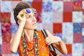 Fashion woman wear sunglasses holding bag — Photo